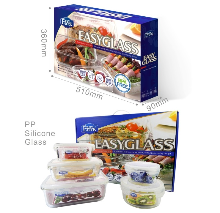 Easylock GS055 Glass Food Container Bakeware Set