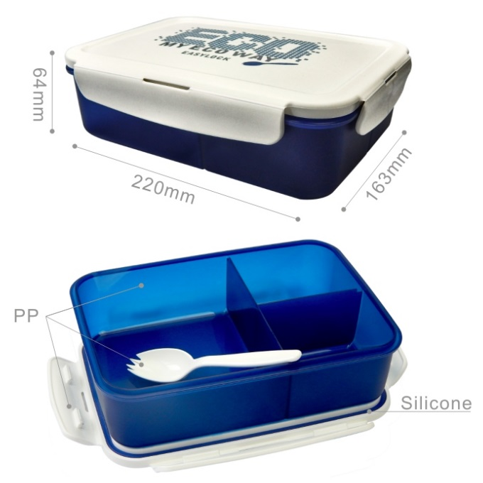 Easylock Stackable Compartment Lunch Boxes with Spoons