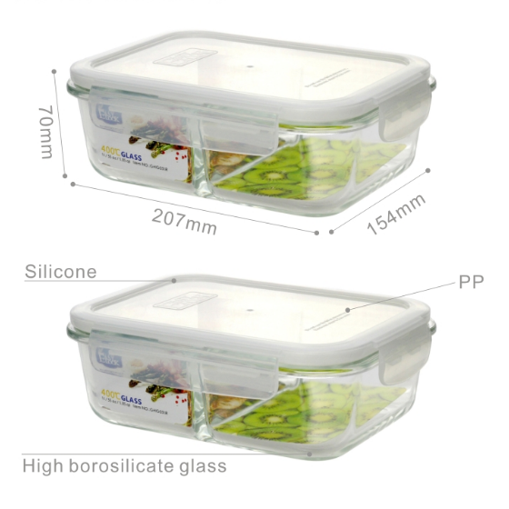 Glass Compartment Containers with Lid