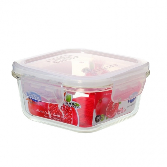 Easy Lock Promotional Heat Resistant Square Glass Food Container