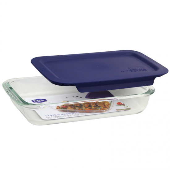Glass Oblong Baking Dishes with Blue Lids