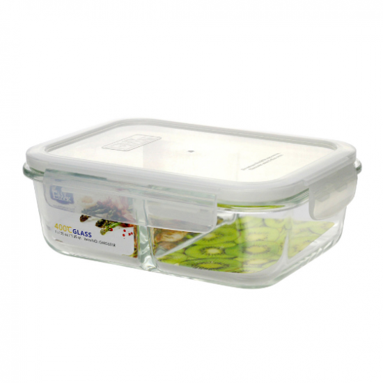 Divided large glass food storage containers with plastic for Case container 974